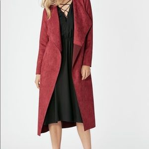 Suede oxblood drape coat